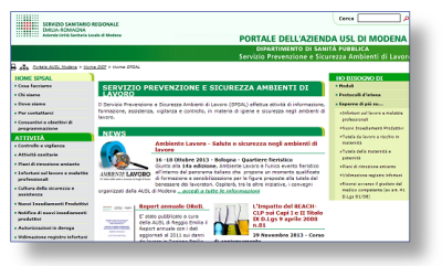 Immagine del sito SPSAL della AUSL Modena